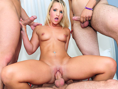 Sexy Amateur Blonde Gets Gang-Banged!